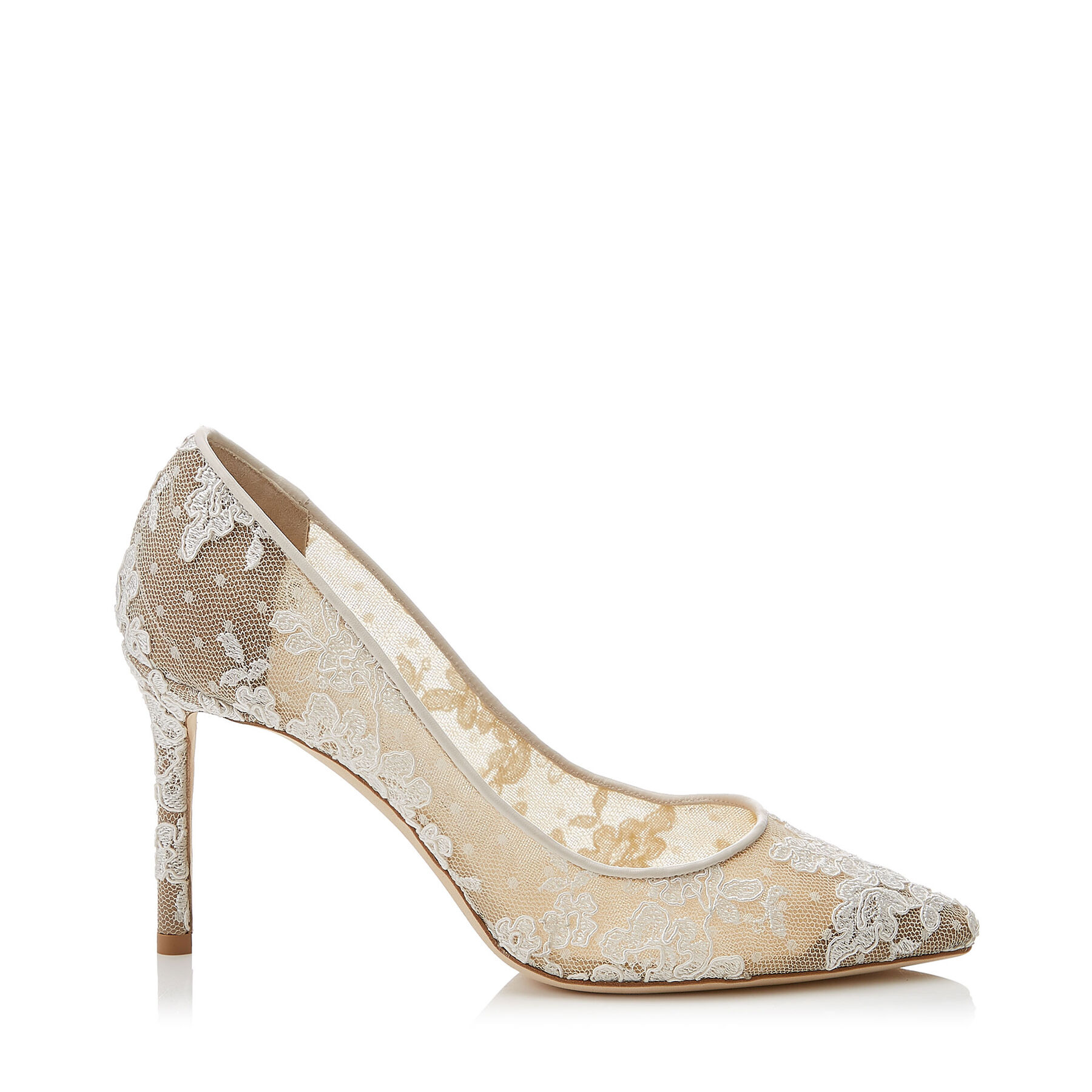 Ivory Floral Lace Pointy Toe Pumps