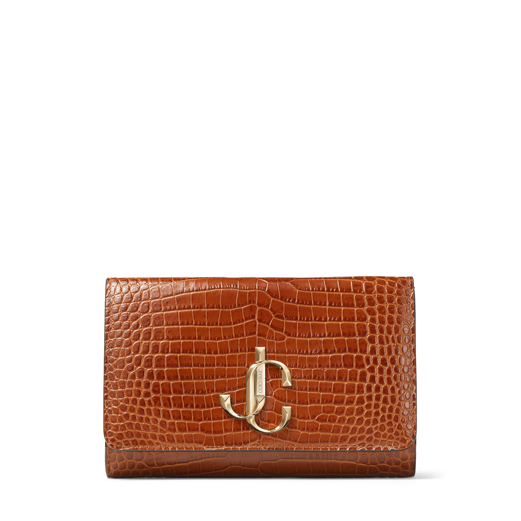 Cuoio Croc Embossed Leather Clutch Bag with JC logo