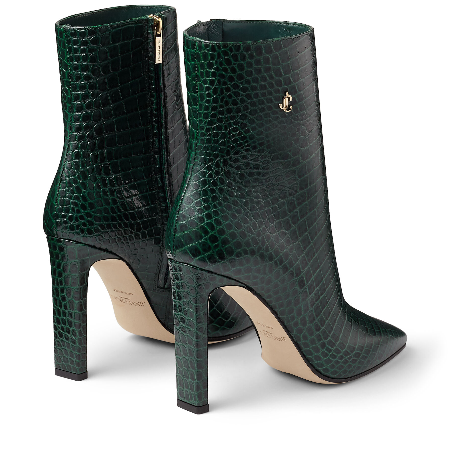 Green Croc Embossed Leather Ankle Boots