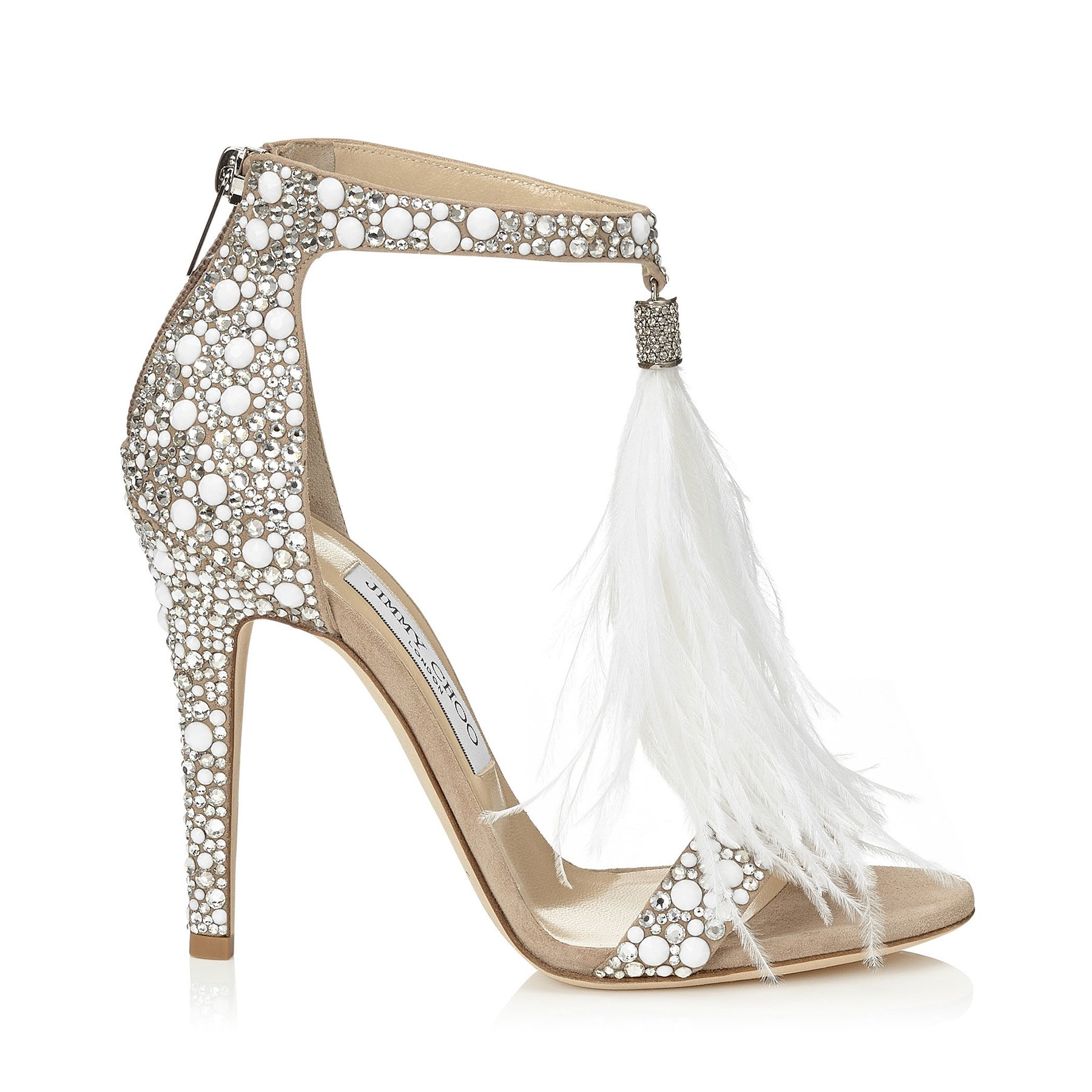 White Suede And Hot Fix Crystal Embellished Sandals With An Ostrich Feather Tel Viola 110 Cruise 16 Jimmy Choo
