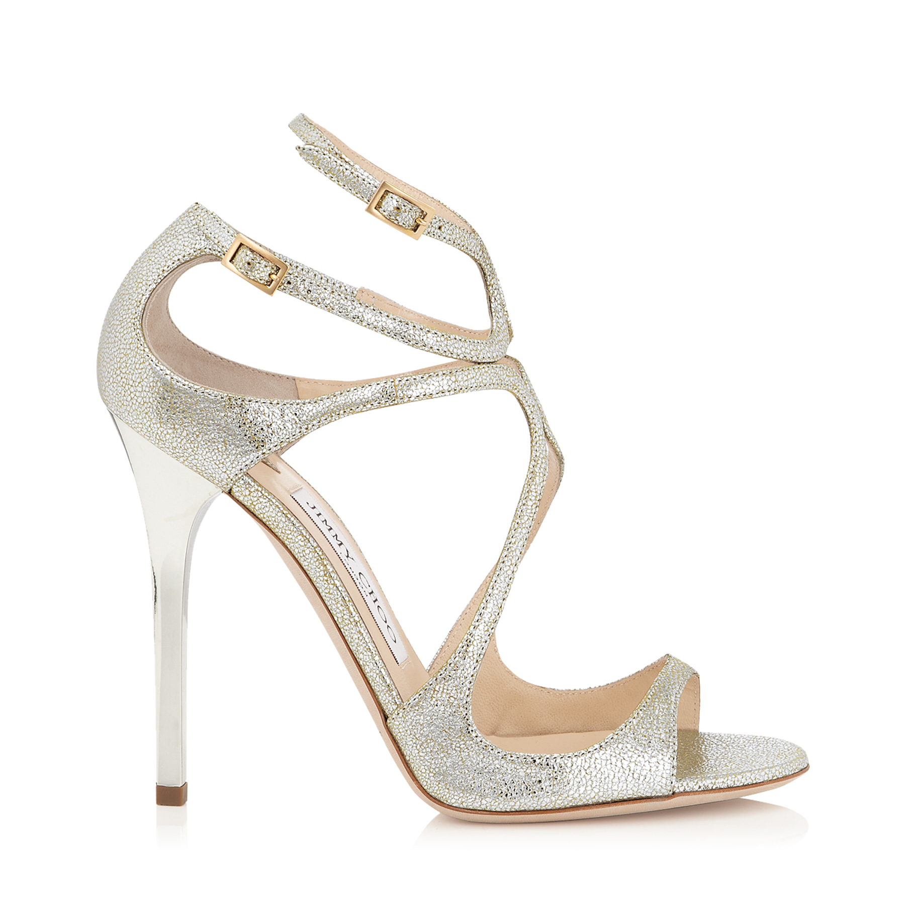 Champagne Glitter Leather Sandals | Lance | JIMMY CHOO
